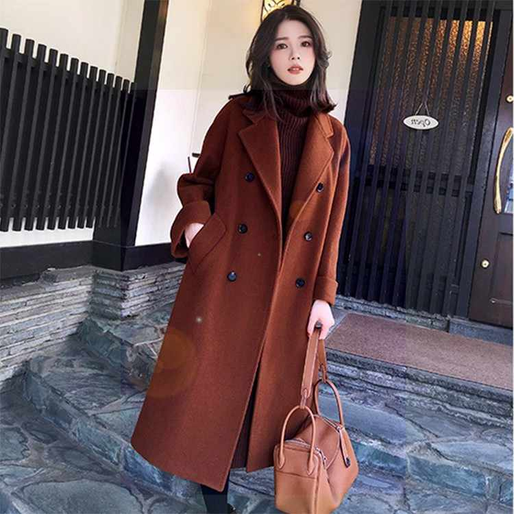 2018 Winter Coat Women's Long Thick Wool Trench Coats With Belt Loose Brand Style Black Ivory Brown