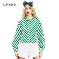ELF SACK spring women fashion striped blouses vintage lantern sleeve short blouse female loose drop shoulder shirts