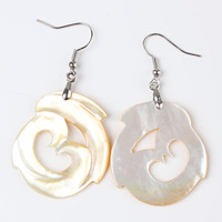 UMY New Trendy Silver Plated Yellow Shell Drop Earrings For Women Designs Jewelry