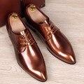 Del Otoño Del resorte de Los Hombres zapatos Oxfords punta estrecha Fashion business casual zapatos de cuero Partido de la Vaca Brogue Zapatos Planos Masculinos 0.9/2