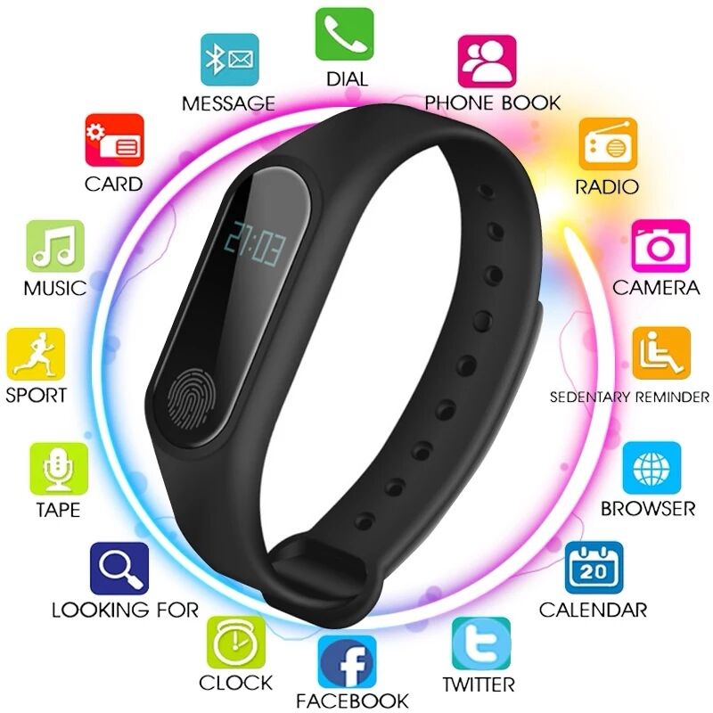 Men's Women's Waterproof IP67 M2 Watch+Watchbands Fitness Heart Rate Monitor Blood Pressure Pedometer Bluetooth Smart Wristband