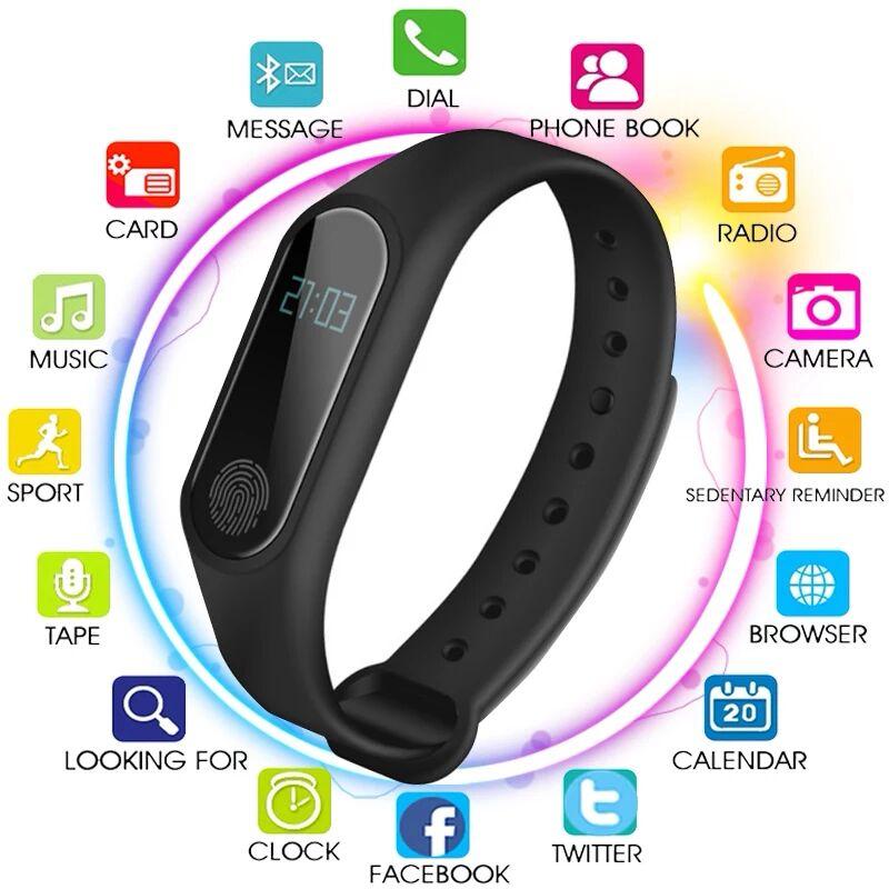 Men's Women's Waterproof IP67 M2 Watch+Watchbands Fitness Heart Rate Monitor Blood Pressure Pedometer Bluetooth Smart Wristband