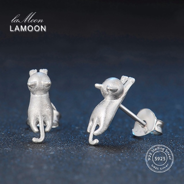 LAMOON 2017 New Wire Drawing Little Cat 100% Real 925-Sterling-Sliver Fine Jewel