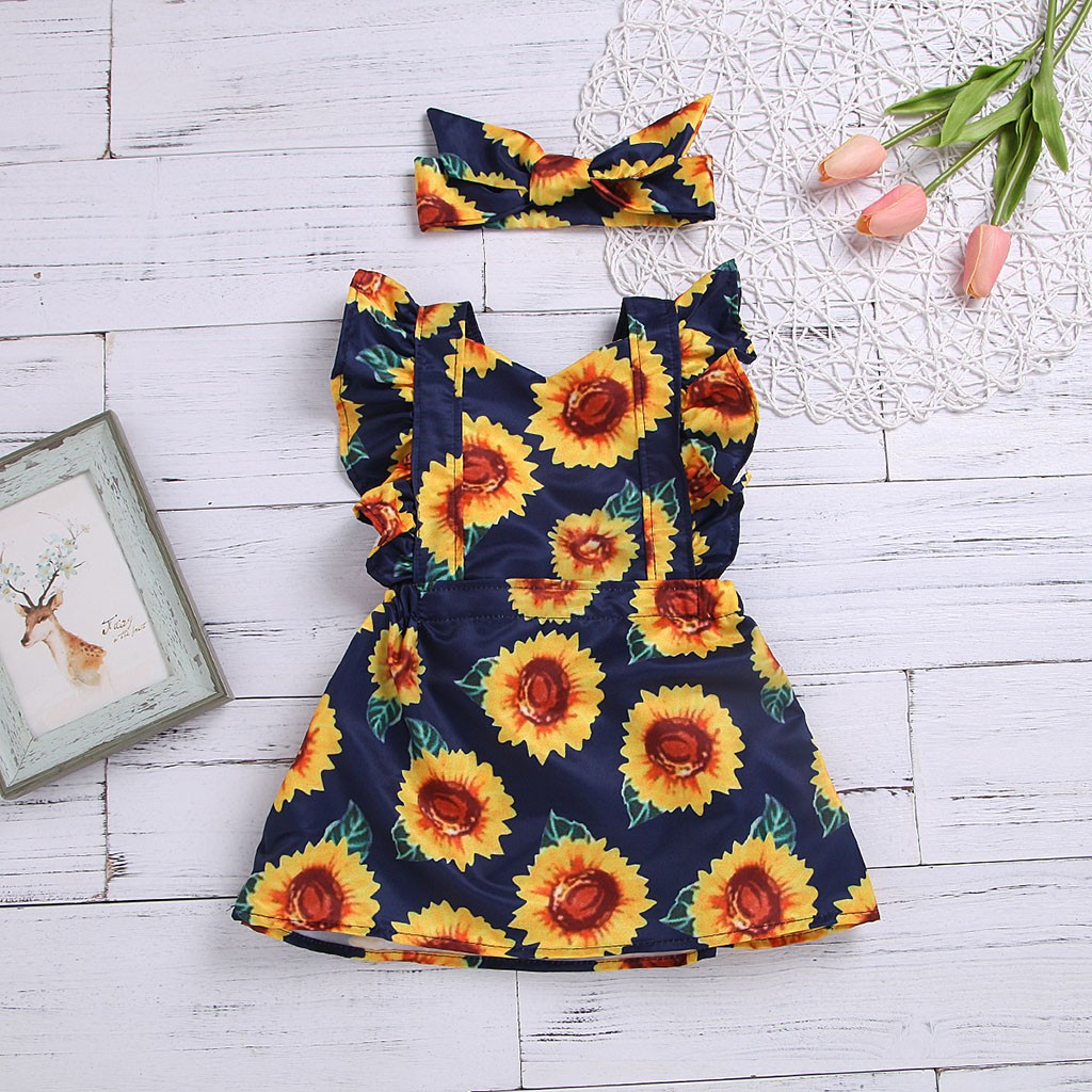 53304bb5d Detail Feedback Questions about Children Kids Baby Fly Sleeve Sunflower  Printed Princess Dress+Headbands Set baby girl clothes elegant dress for girls  girls ...