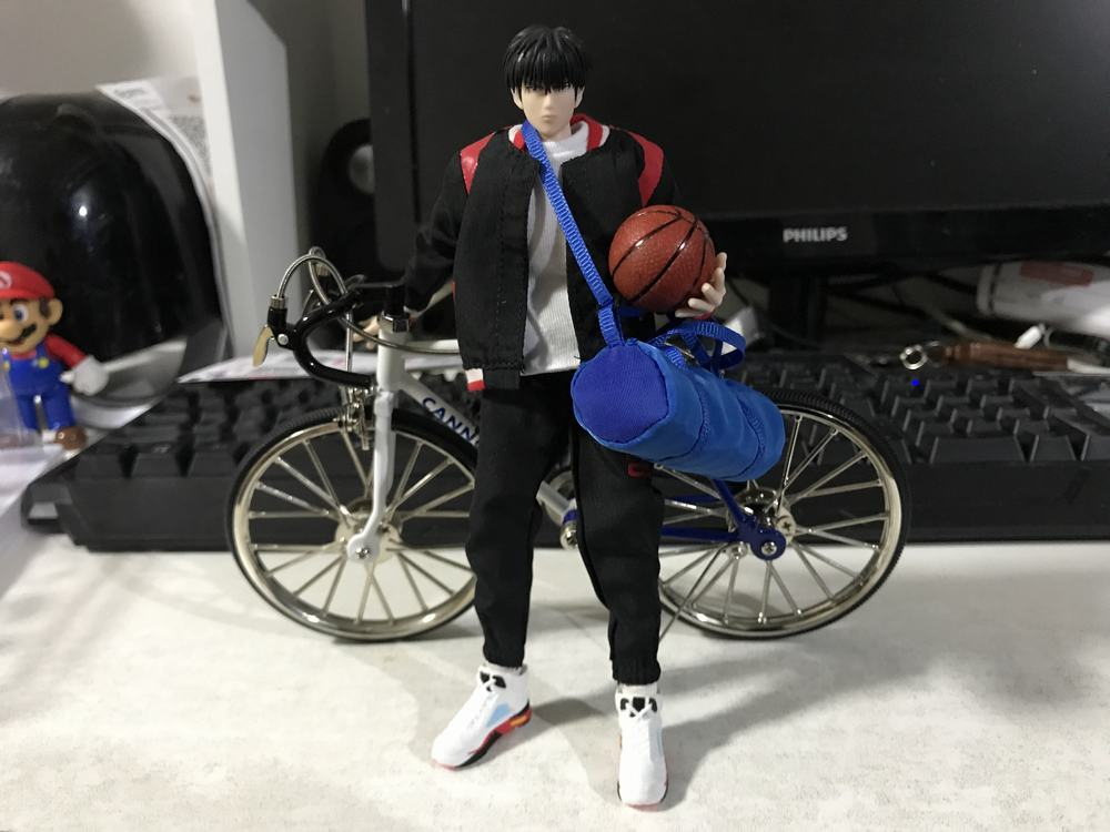 Slum Dunk basketball Bike Alloy Special For Rukawa Kaede Simulation Bicycle NBA Scene Toy For Doll Action Figure Display