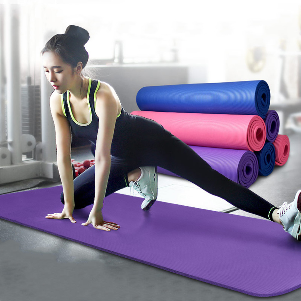10mm Thick Exercise Fitness use Exercise Mat for Yoga and pilate portable non-slip NBR cushion for outdoor travel gymnastics mat thick four folding panel fitness exercise 2 4mx1 2mx3cm