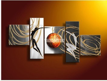 Us 50 0 5 Panel Wall Art People Love Story Gray Oil Painting On Canvas Handmade Decorative For Decorations Prints Picture In Painting Calligraphy