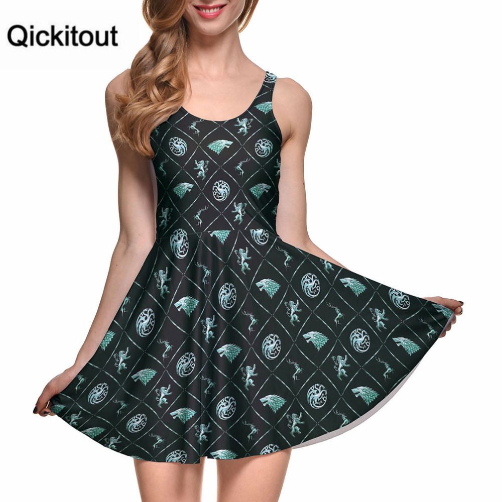 Spring Hot New Sexy Women Clothes Cartoon Mini Female Dress WIN OR DIE REVERSIBLE SKATER DRESS Pleated Drop Shipping S119-63
