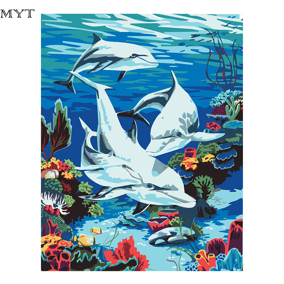 Sea Life Diy Digital Canvas Oil Painting By Numbers Pictures ...