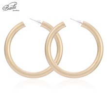 Badu Matte Gold Silver Round Stud Earring Punk Style Big Circle Hoops Women Fashion Jewelry for Christmas Earrings Wholesale