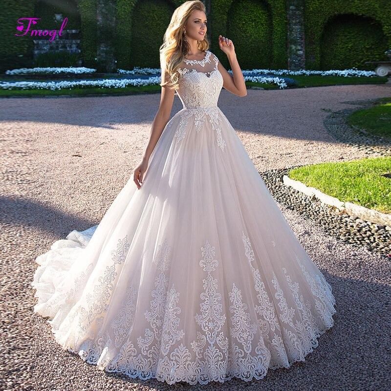 Fmogl Magnifique Appliques Cap Manches A-ligne de Robe de Mariage 2019 Mode Scoop Neck Lace Up Princesse Robe de Mariée Robe de Noiva