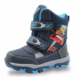 Image 3 - Apakowa winter kids snow boots mid calf bungee lacing waterproof boys boots big boys sport shoes wollen lining kids winter boots
