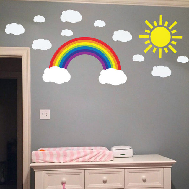 Online Shop W307 Arcobaleno Nuvole e Sole Wall Art sticker Decal ...