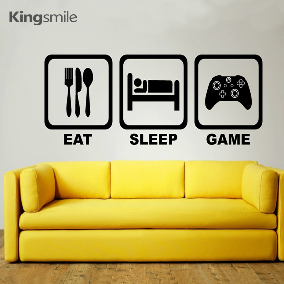 Classic EAT SLEEP GAME Wall Art Decals Vinyl Kids Stickers Removable ...