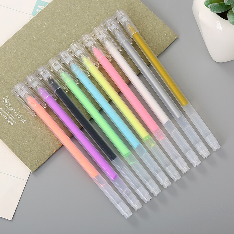 1PCS Creative DIY Album HighLight Powder Color Pen Lovely Learning Stationery Candy Color 10 Coloured Ravens Pen
