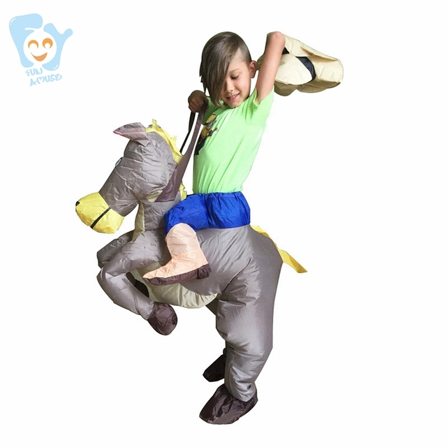 Inflatable Carry Me Ride On Horse Costume Halloween Costume For Kids Boy Costumes Fancy Cosplay Dress