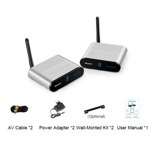 Wireless Silver Video Sender Receiver Portable AV TV Wireless Audio Video Sender Transmitter Receiver 500 Meter for DVD