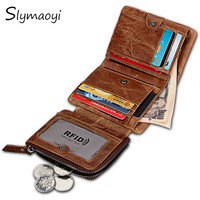 Slymaoyi Genuine Crazy Horse Leather Men Wallets Vintage Trifold Wallet Zip Coin Pocket Purse Cowhide Leather