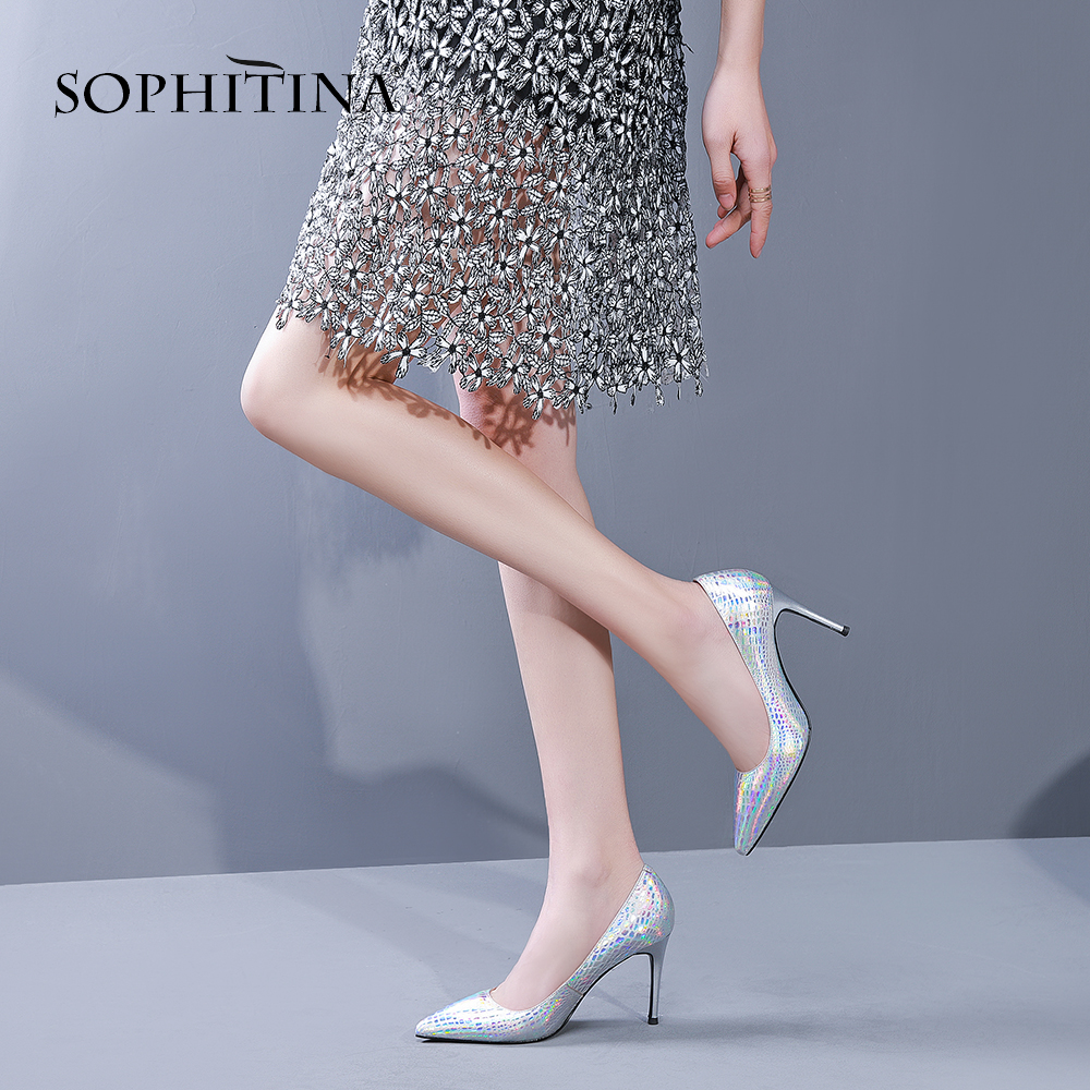 SOPHITINA Fashion Magic Embossing Pumps Sexy Thin Heels Pointed Toe Party Bling Shoes Elegant Genuine Leather