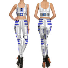 c7e9e1e693 2017 Fashion Star War Vest with Leggings Set Sexy Women Cosplay Costumes  Summer Style Tops Camisole Casual Crop Tops Print Tanks