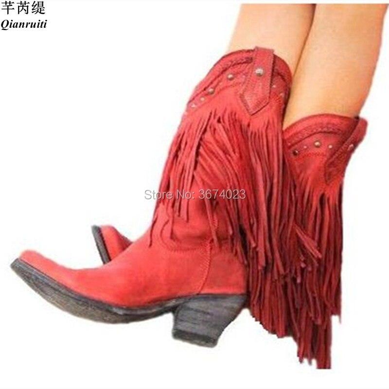 Qianruiti Boho Bohemia estilo flecos botas punta puntiaguda gamuza cuero borla tacones gruesos rojo amarillo Beige vaquero botas Mujer-in Botas a media pierna from zapatos    1