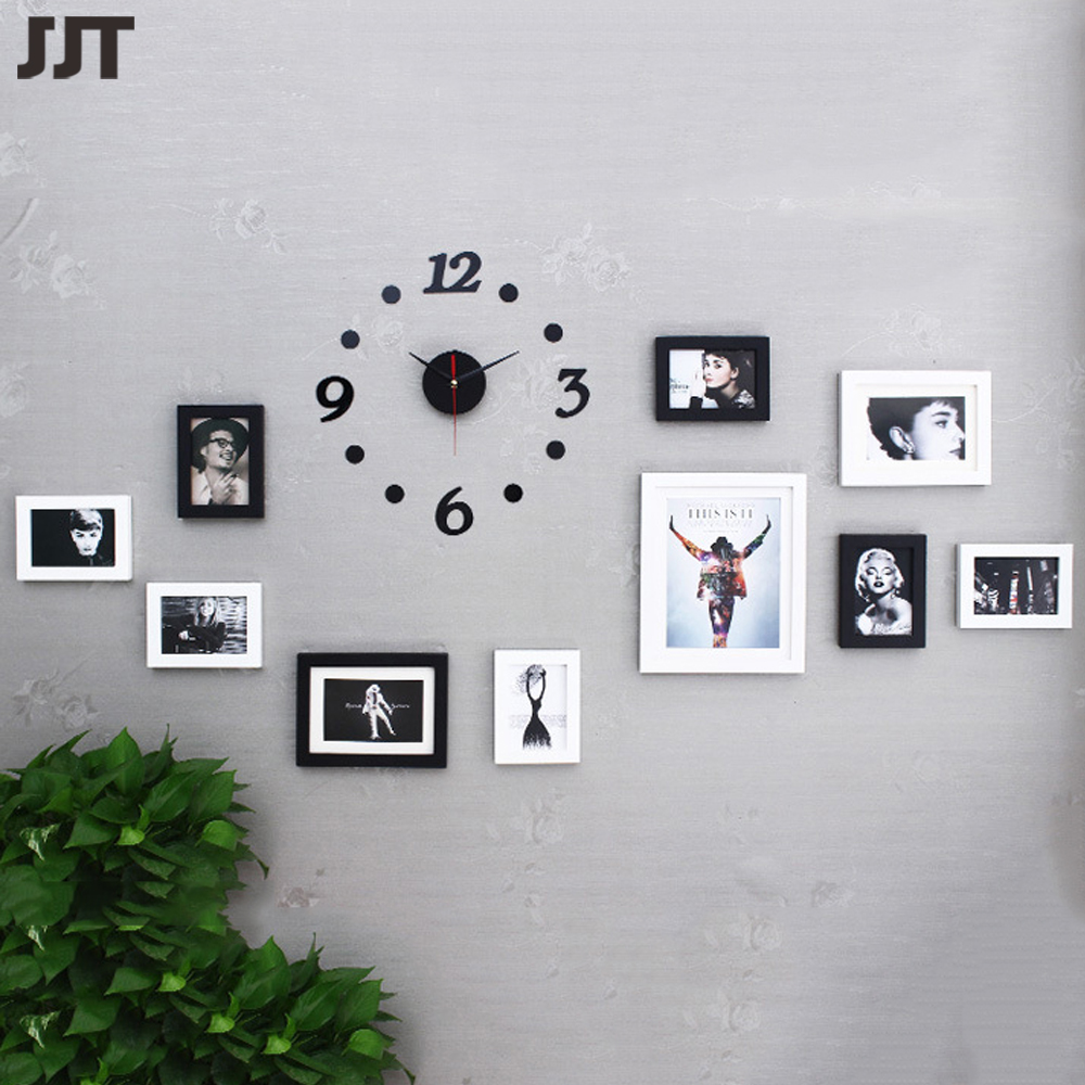 cheap photo frame set 10pcs with clock diy picture frames wooden decor for home free shipping