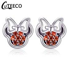 CUTEECO 6 Styles Mickey Stud Earring For Women Girls European Hot Sale Zircon Brand Earrings Fashion Wedding Jewelry