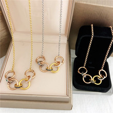 New Arrival Stainless Steel Hoop Necklace Double Circle Cubic Zirconia Chokers Necklace Fashion Necklaces Women Jewelry(China)