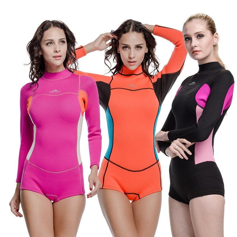 2019 offre spéciale femme à manches longues maillot de bain femmes plongée sous-marine Surf plongée combinaisons humides 2mm néoprène combinaison maillots de bain anti-éruption une pièce - 3