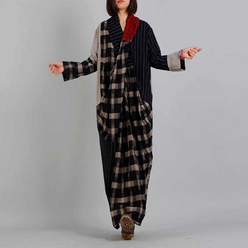 Kadın Giyim'ten Elbiseler'de Johnature Kadınlar Maxi Elbise Ekose Çizgili Elbise 2019 Bahar Vintage V Yaka Uzun Kollu Artı Boyutu kadın kıyafetleri Pamuk Keten Elbise'da  Grup 2