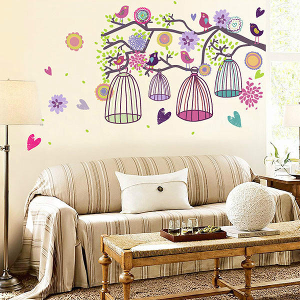 Charmant Bird Cage Flowers Heart Decal Sticker Mural Wallpaper Home Decor Background  Wall
