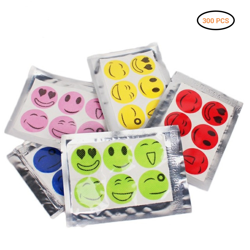 300Pcs Mosquiot Repellent Stickers Patches Smiling Face Drive Midge Citronella Oil Mosquito Killer Cartoon Repeller Stick(China)