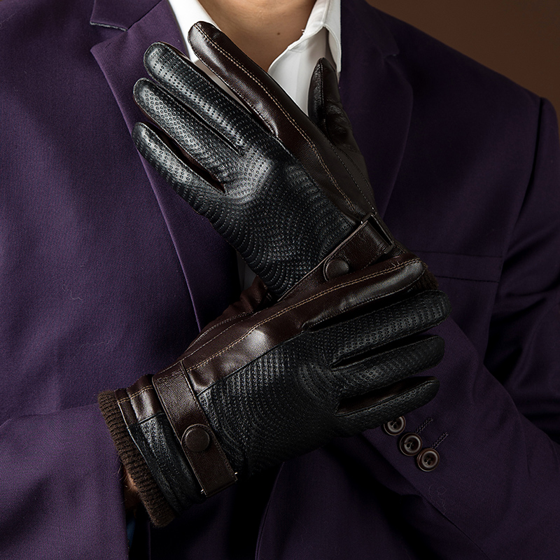 New Autumn Fashion Mens Leather Gloves Goatskin Belt Button Male Mittens Plus Velvet Warm Gloves For Men Outdoor Driving Gloves