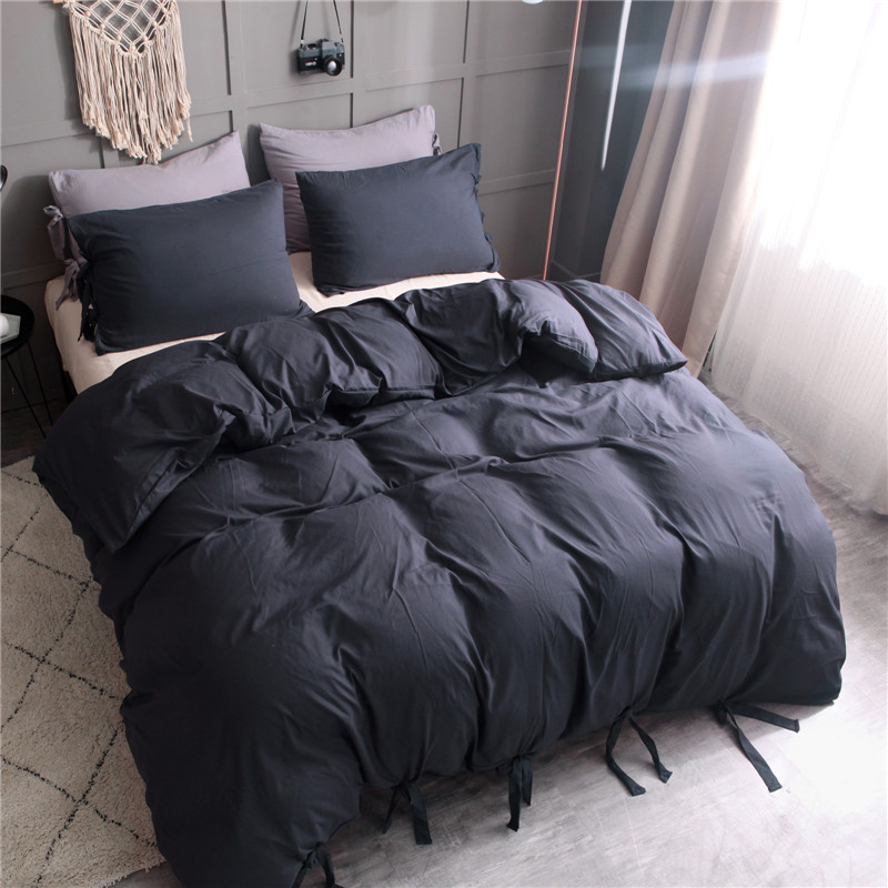 Navy Blue Washed Cotton Bedding Set Strap Design No Zipper Duvet Cover Pillowcase 2/3pcs Hotel Use Polyester Fabric Bed Cover