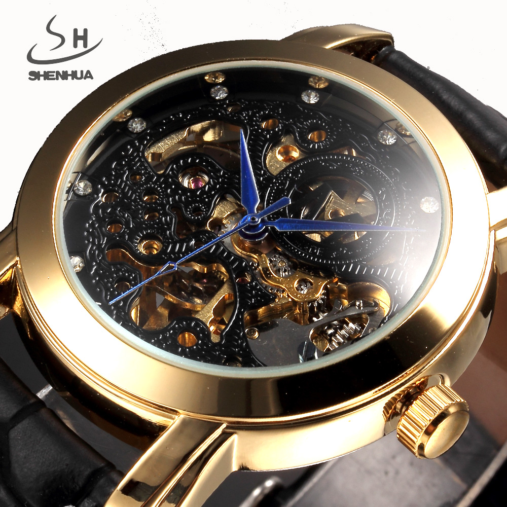 Luxury Brand SHENHUA Men Watch Gold Skeleton Automatic Mechanical Watch Men Transparent Leather Clock Relogio Masculino
