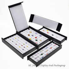 Bandeja de exhibición Superior de cuero mudo con imán, caja de almacenamiento de piedra, soporte de joyería, organizador de piedras preciosas