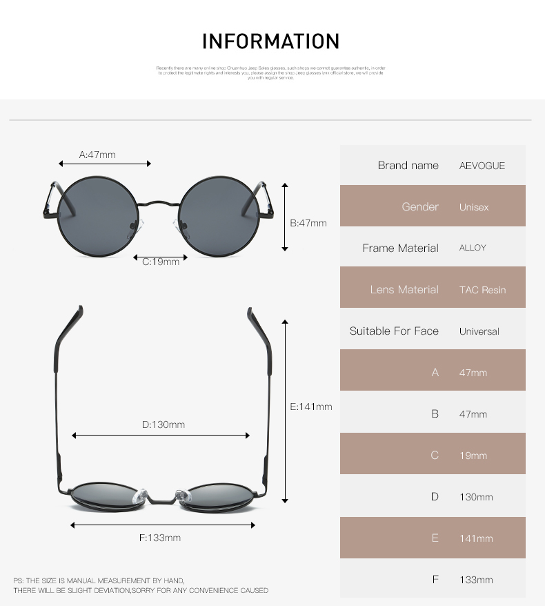 AEVOGUE Polarized Sunglasses For Men/Women نظارات شمسية للرجال وللسيدات بعدسات دائرية بلورايزد 2