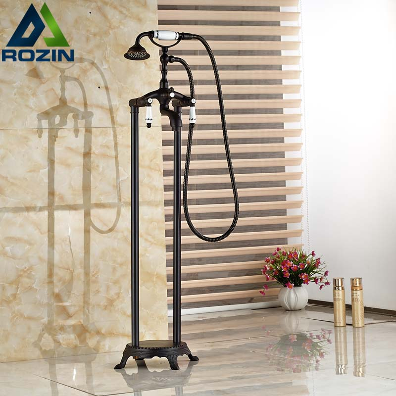Oil Rubbed Bronze Free Standing Claw foot Bath Tub Filler Faucet Hand Shower Mixer Taps Floor Mount oil rubbed bronze waterfall tub mixer faucet free standing floor mount bathtub faucet with handshower