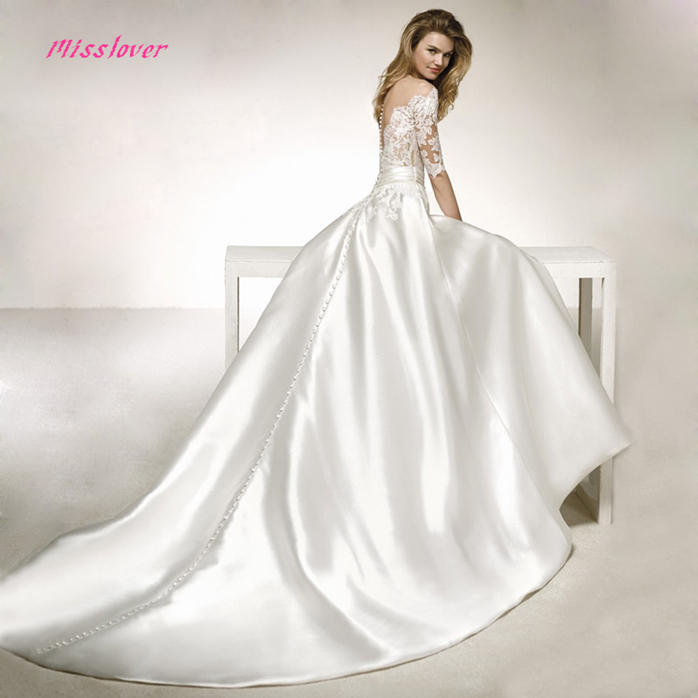 Silk Taffeta Wedding Gowns: Vestido De Noiva V Neck Vintage Silk Taffeta Wedding Dress