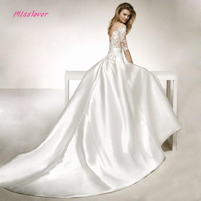 Vestido De Noiva V Neck Vintage Silk Taffeta Wedding Dress