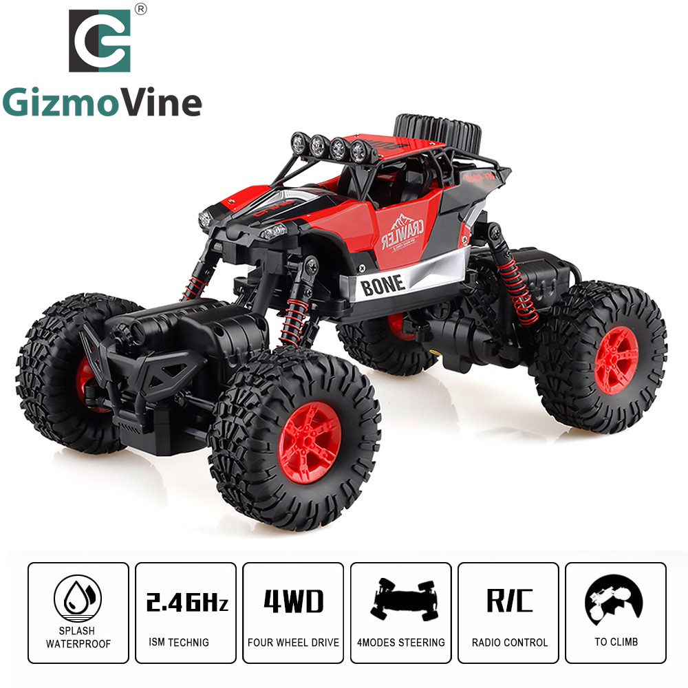 GizmoVine RC Car Double Motors Bigfoot Car 2.4G Remote Control Toys 1/16 Waterproof 4WD RC Desert Buggy Truck Dirt Bike For Kids