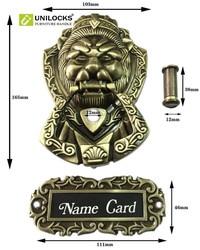 UNILOCKS Antique Bronze wizjer kołatka Lion Unicorn Beast z wizjerem drzwi (rozmiary: 155mm * 105mm)