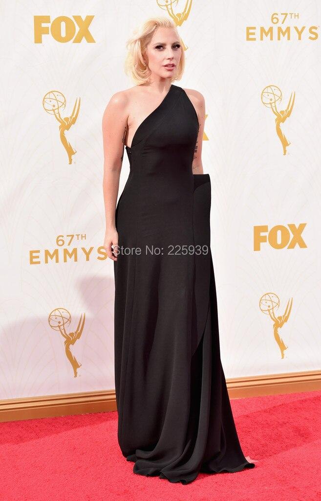 Lady Gaga Eleagnt Gowns Scoop One Shoulder Full Length A Line Black ...