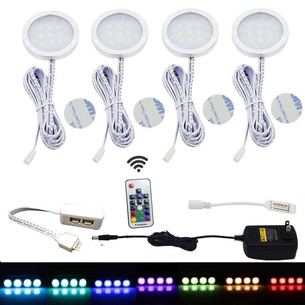 Set von 4 Unter Schrank RGB Licht Kit 9 LEDs Puck Lampe IR ...