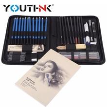 48Pcs 연필 전문 드로잉 스케치 연필 키트 스케치 흑연 숯 연필 스틱 지우개 편지지 드로잉 용품