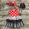 2016 girls summer dress kids party dress girls red polka got dress with necklace and headband