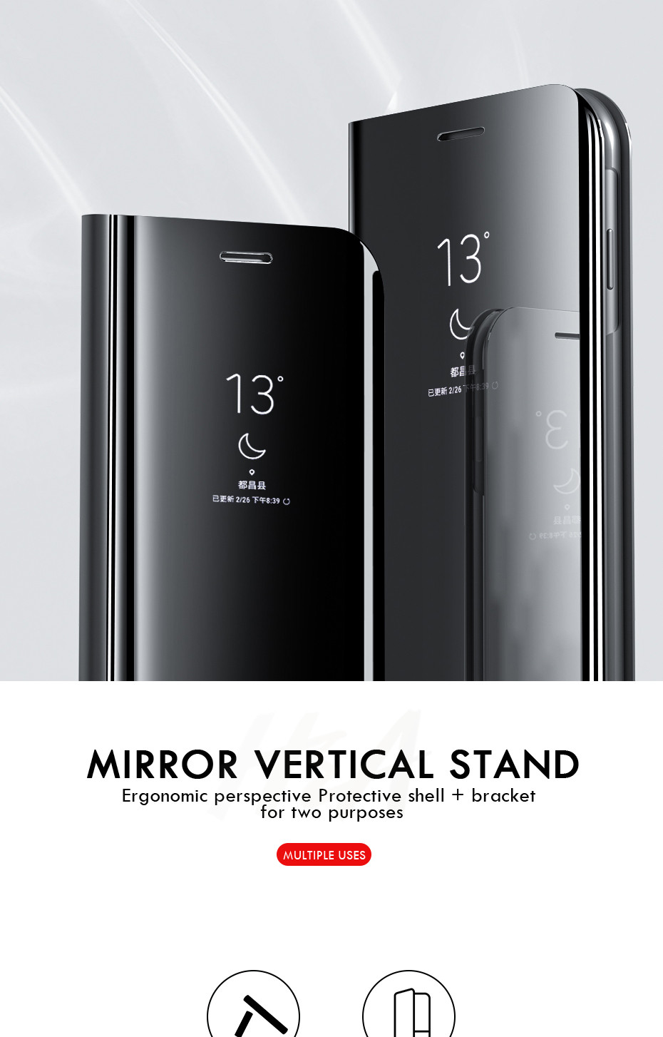 HTB1E7ydadfvK1RjSspoq6zfNpXaW H & A Clear View Smart Spiegel Telefon Fall Für Samsung Galaxy S9 S8 S7 S6 Rand Plus Hinweis 8 9 für A3 A5 A7 A8 2017 J3 J7 2018 Fall
