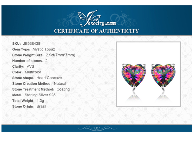 JewelryPalace Heart 3ct Natural Mystic Rainbow Topaz Stud Earrings Genuine 925 Sterling Silver Brand Fine Jewelry For Women Gift