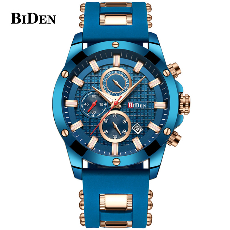 Luxury Men Military Blue Rubber Band Waterproof Sports Quartz Watches BIDEN Fashion Brand Male Chronograph Wrist Watch Clock цена