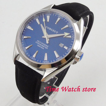 Polished 41mm Miyota 8215 5ATM automatic men's watch sapphire glass polished bezel blue dial silver marks date display deployant фото